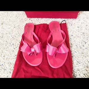 Valentino Hot Pink Bow Jelly Sandals Flip Flop